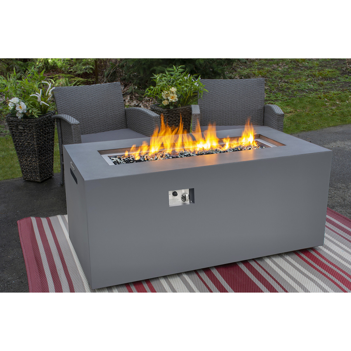 PARAMOUNT CONCRETE LOOK ALUMINUM FIRE TABLE, TALL RECTANGLE