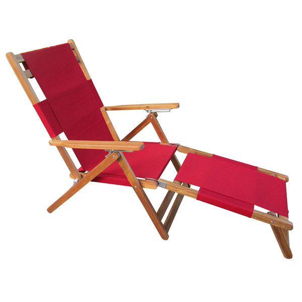 PATIOFLARE PORTABLE LOUNGE CHAIR WITH LEG REST, RED