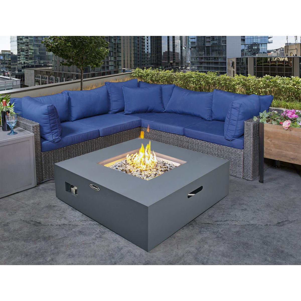 Paramount Concrete Look Aluminum Fire Table, Low Square